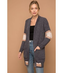 PODOS COLOR BLOCK STRIPE CHENILLE CARDIGAN