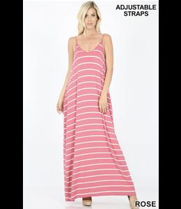 PODOS Striped V-Neck Cami Maxi w/ Pockets