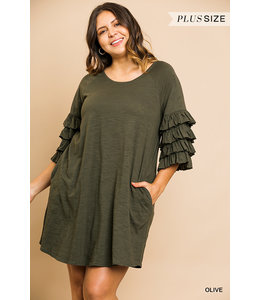 PODOS Layered Ruffle Sleeve Dress Plus