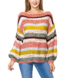 PODOS Open Knit Color Block Sweater Top