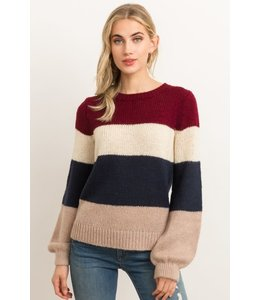 PODOS COLOR BLOCK CUFF SLEEVE SWEATER