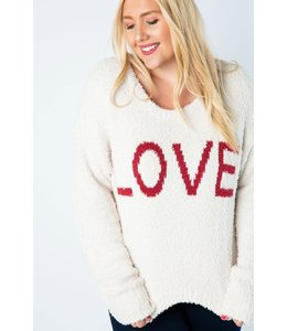 PODOS Cropped LOVE Sweater