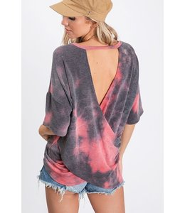 PODOS Tie Dyed Top w/ Crossed Open Back