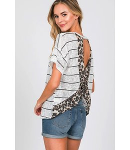 PODOS Crossed Open Back Top w/ Leopard Trim