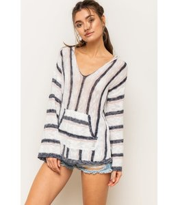 PODOS COLOR MIX STRIPE LOOSE FIT  SWEATER HOODIE