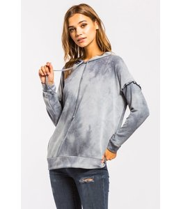PODOS Ruffle Shoulder Tie Dye French Terry Hoodie