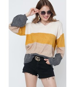 PODOS V Neck Color Block Sweater