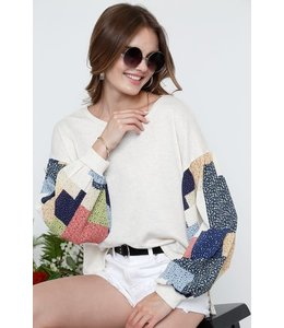 PODOS ROUND NECK LONG SLEEVE MULTI COLOR TOPS
