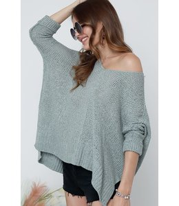 PODOS V NECK SOLID LOOSE FIT SWEATER