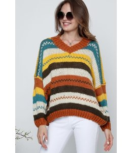 PODOS V NECK LONG SLEEVE COLOR SWEATER