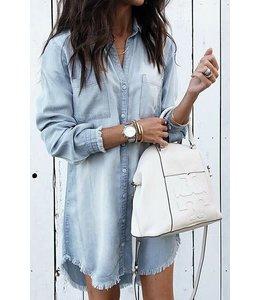 PODOS Denim Wash Button Up Tunic Dress
