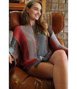 PODOS colorblock striped open fishnet cozy sweater