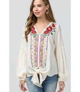 PODOS Embroidered v-neck top