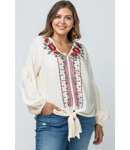 PODOS Embroidered v-neck top- PLUS