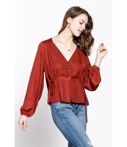 PODOS Button Front Blouse w/ Side Tie