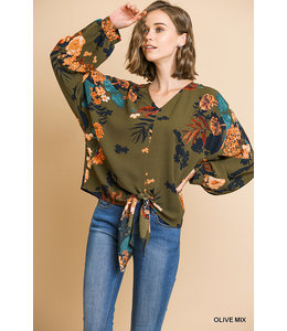 PODOS Floral Print Long Puff Sleeve