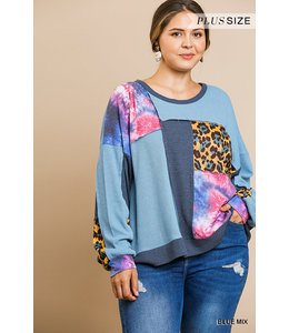 PODOS Waffle Knit Animal Mixed Print Plus