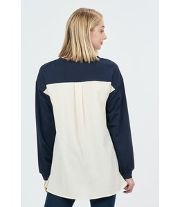 PODOS Sweatshirt Style Top w/ Contrasting Chiffon Back.