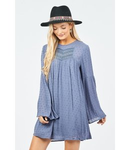 PODOS Bell Sleeve Dress w/ Lace Detail