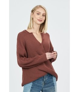 PODOS Wrap Front, Ribbed Knit Sweater