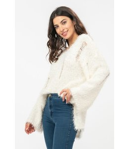 PODOS Furry Ripped Knit Sweater