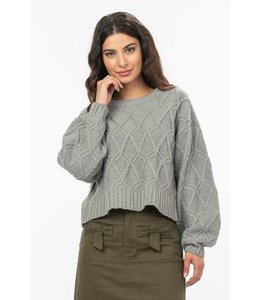 PODOS Semi-Cropped Cable Knit Sweater