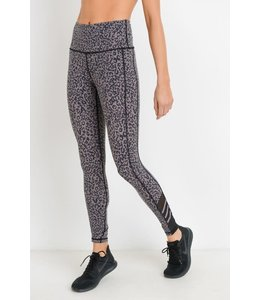 PODOS Highwaist Leopard Print Mesh Leggings