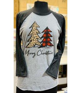 PODOS Merry Christmas Trees Raglan