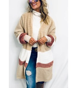 PODOS Sherpa Fleece Color Block Cardigan