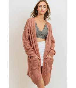 PODOS Cable Knit Long Sleeve Cardigan