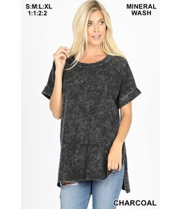 PODOS Mineral Wash Rolled Sleeve Top