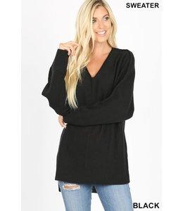 PODOS Ribbed V-Neck Sweater