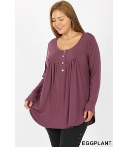 PODOS Henley Neck Top w/ Yoke Shirring PLUS