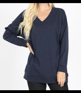 Zenana Long Sleeve V-Neck Sweatshirt w/ Side Pockets