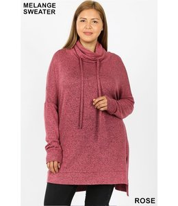 PODOS Brushed Melange Funnel Neck Sweater PLUS