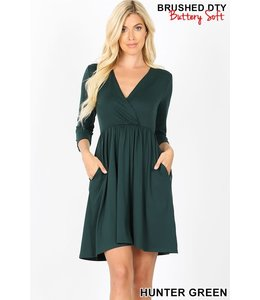 PODOS 3/4 Sleeve Surplice Buttery Soft Dress