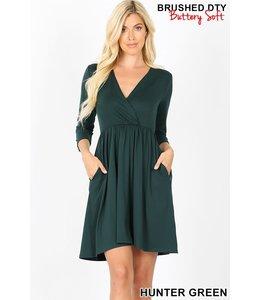 PODOS 3/4 Sleeve Surplice Buttery Soft Dress
