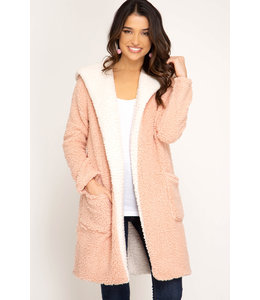 PODOS Hooded Shearling Fleece Coat