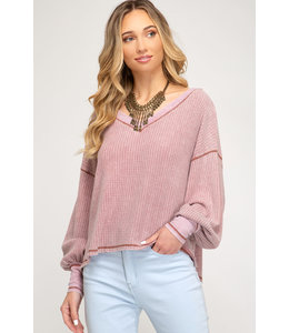 PODOS Bubble Sleeve Waffle Knit Top