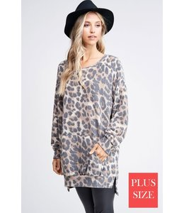 PODOS Oversize Cheetah Print Sweater Plus