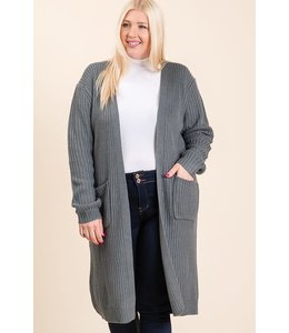 PODOS Soft Knit Sweater Cardigan Plus