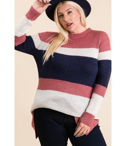 PODOS Color Block Tunic Sweater
