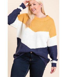 PODOS Chevron Color Block Sweater Plus