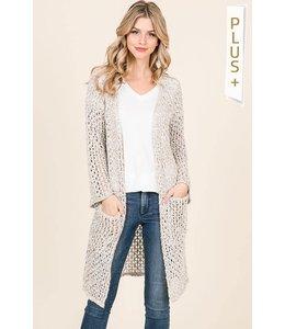 PODOS Fishnet Sweater Cardigan