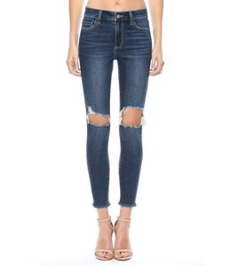 PODOS Mid Rise Knee Hole Crop Skinny
