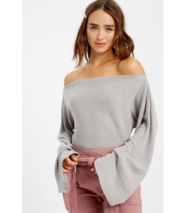 PODOS Boat Neck Bell Sleeve Top