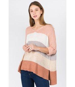 PODOS Color block 3/4 Sweater