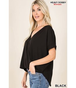 PODOS Woven Heavy Dobby Layered Front Top