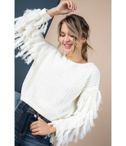 PODOS Fringe Sleeve Sweater Top