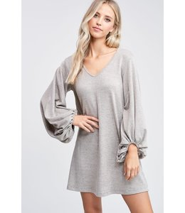 PODOS Puff Sleeve Solid Knit Dress